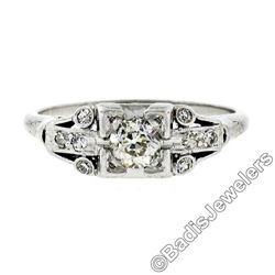 Art Deco Platinum 0.50 ctw Old European Diamond Engagement Ring