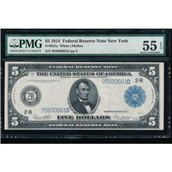 1914 $5 New York Federal Reserve Note PMG 55EPQ