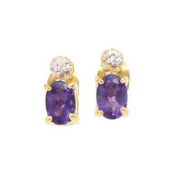 Plated 18KT Yellow Gold 0.75ctw Amethyst and Diamond Earrings