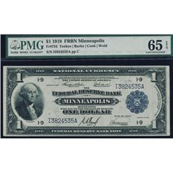 1918 $1 Minneapolis Federal Reserve Bank Note PMG 65EPQ