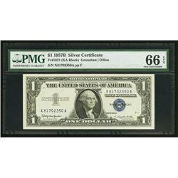 1957B $1 Silver Certificate PMG 66EPQ
