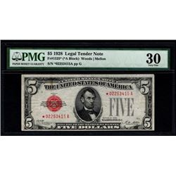1928 $5 Legal Tender STAR Note PMG 30