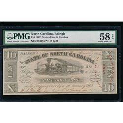 1862 $10 Raleigh NC Obsolete Note PMG 58EPQ