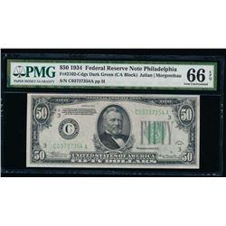 1934 $50 Philadelphia Federal Reserve Note PMG 66EPQ