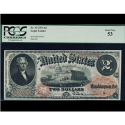 1874 $2 Legal Tender Note PCGS 53