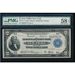 1918 $2 New York Federal Reserve Bank Note PMG 58EPQ