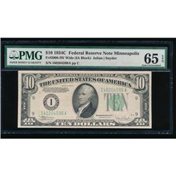 1934C $10 Minneapolis Federal Reserve Note PMG 65EPQ
