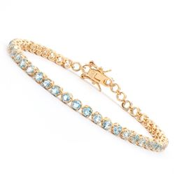 Plated 18KT Yellow Gold 4.10ctw Blue Topaz Bracelet
