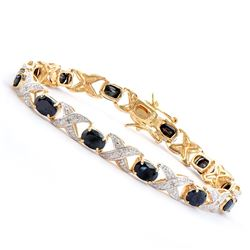 Plated 18KT Yellow Gold 12.00ctw Black Sapphire and Diamond Bracelet