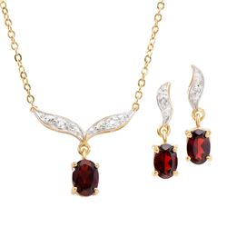 Plated 18KT Yellow Gold 1.70ctw Garnet and Diamond Pendant with Chain and Earrings