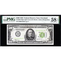 1934 $500 Cleveland Federal Reserve Note PMG 58EPQ