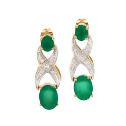 Plated 18KT Yellow Gold 2.65ctw Green Agate and Diamond Earrings