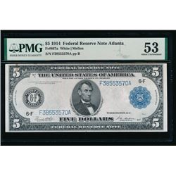 1914 $5 Atlanta Federal Reserve Note PMG 53