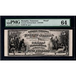 Original Series $5 The German National Bank Memphis Proof Note PMG 64