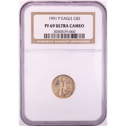 1991-P $5 Proof American Gold Eagle Coin NGC PF69 Ultra Cameo