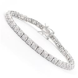Plated Rhodium 0.32ctw Diamond Bracelet