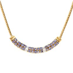 Plated 18KT Yellow Gold 1.65ctw Tanzanite and Diamond Pendant with Chain