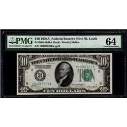 1928A $10 St Louis Federal Reserve Note PMG 64