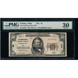1929 $50 Findlay National Bank Note PMG 30