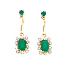 Plated 18KT Yellow Gold 1.79ctw Green Agate and Diamond Earrings