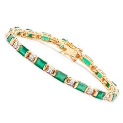 Plated 18KT Yellow Gold 10.00ctw Green Agate and Diamond Bracelet
