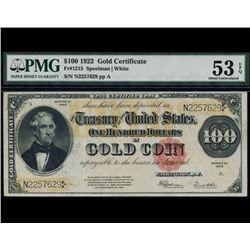 1922 $100 Gold Certificate PMG 53EPQ