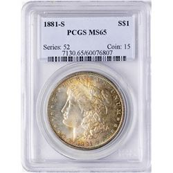 1881-S $1 Morgan Silver Dollar Coin PCGS MS65 Amazing Toning
