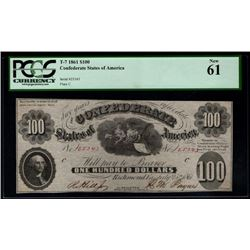 1861 $100 Confederate States of America Note PCGS 61