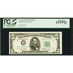 1950B $5 New York Federal Reserve Note PCGS 63PPQ