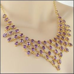 Plated 18KT Yellow Gold 41.00ctw Amethyst Pendant with Chain