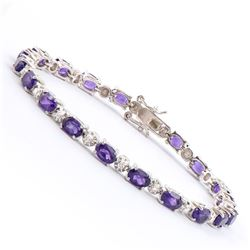 Plated Rhodium 7.45ctw Amethyst and Diamond Bracelet
