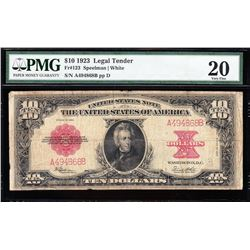 1923 $10 Poker Chip Legal Tender Note PMG 20