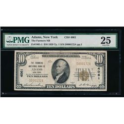 1929 $10 Adams National Bank Note PMG 25