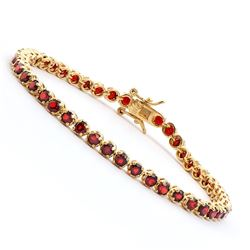 Plated 18KT Yellow Gold 3.60ctw Garnet Bracelet