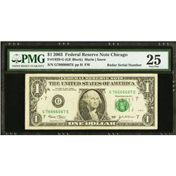 2003 $1 Super Radar Serial Federal Reserve Note PMG 25