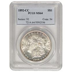 1892-CC $1 Morgan Silver Dollar Coin PCGS MS64