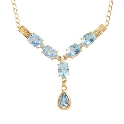Plated 18KT Yellow Gold 8.00ctw Blue and White Topaz Pendant with Chain