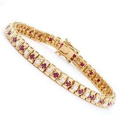 Plated 18KT Yellow Gold 2.50ctw Ruby and Diamond Bracelet