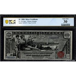 1896 $1 Educational Silver Certificate PCGS 30
