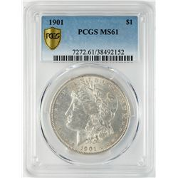 1901 $1 Morgan Silver Dollar Coin PCGS MS61