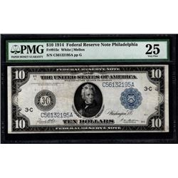 1914 $10 Philadelphia Federal Reserve Note PMG 25