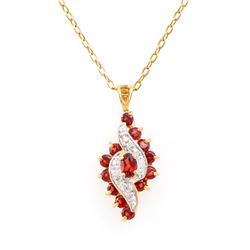 Plated 18KT Yellow Gold 1.16ctw Garnet and Diamond Pendant with Chain