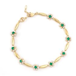 Plated 18KT Yellow Gold 0.81ctw Green Agate and Diamond Bracelet