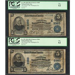 Lot of (2) 1902PB $5 Washington, PA CH# 3383 National Currency Notes PCGS Fine 12