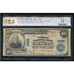 1902 $10 Saco Maine National Bank Note PCGS 12