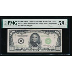 1934 $1000 New York Federal Reserve Note PMG 58EPQ