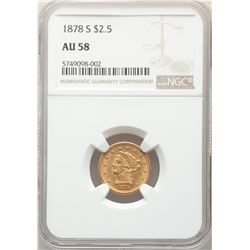 1878-S $2.5 Liberty Head Quarter Eagle Coin NGC AU58