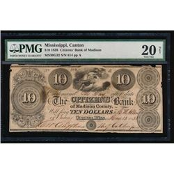 1838 $10 Citizens Bank of Madison Note PMG 20NET