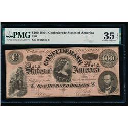 1864 $100 Confederate States of America Note PMG 35EPQ