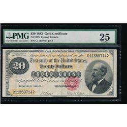 1882 $20 Gold Certificate PMG 25